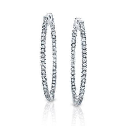Certified 14K White Gold Large Round Diamond Hoop Earrings 3.00 ct. tw. (H-I, SI1-SI2), 2-inch (50.8mm)