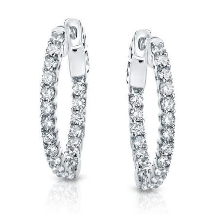 Certified 14K White Gold Medium Trellis-style Round Diamond Hoop Earrings 3.00 ct. tw. (J-K, I1-I2), 0.75 inch