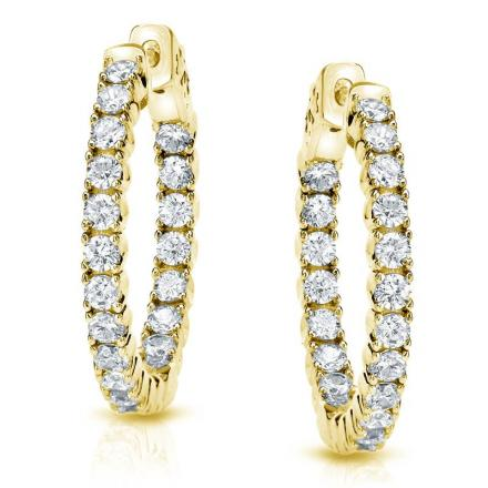 Certified 14K Yellow Gold Small Round Diamond Hoop Earrings 0.50 ct. tw. (H-I, SI1-SI2), 0.50-inch