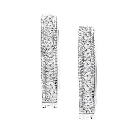 Certified 10K White Gold Small Round Diamond Hoop Earring 0.25 ct. tw. (J-K, I2-I3), 0.47-inch (12mm)