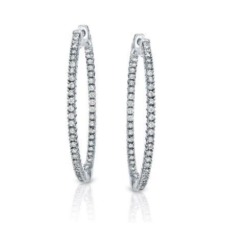 Certified 14K White Gold Large Round Diamond Hoop Earrings 3.00 ct. tw. (J-K, I2-I3) 2-inch