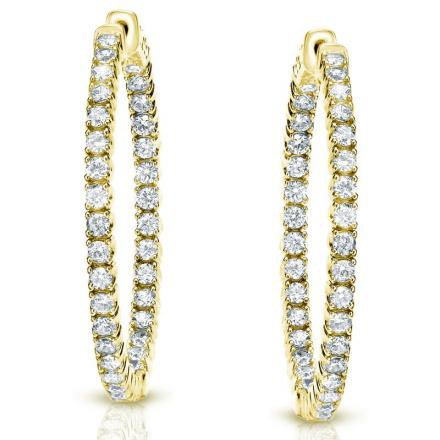Certified 14K Yellow Gold Medium Round Diamond Hoop Earring 3.00 ct. tw. (J-K, I1-I2), 1.29-inch (33mm)