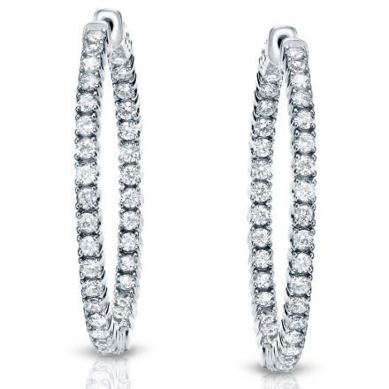 Certified 14K White Gold Small Round Diamond Hoop Earrings 0.75 ct. tw. (J-K, I1-I2), 0.75-inch (20mm)