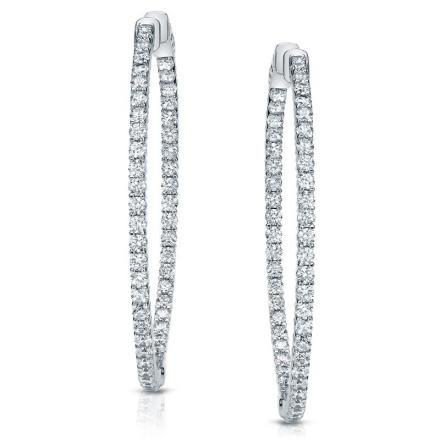 Certified 14K White Gold Medium Double Shared Prong Round Diamond Hoop Earrings 3.00 ct. tw. (J-K, I1-I2), 1.80 inch