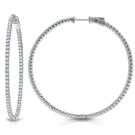 Certified 14K White Gold Large Inside Out Round Diamond Hoop Earrings 5.00 ct. tw. (J-K, I1-I2), 2.55 inch