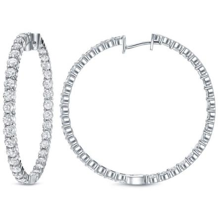 Certified 14K White Gold Extra Large Round Diamond Hoop Earrings 14.50 ct. tw. (H-I, SI1-SI2), 2.24-inch (57mm)