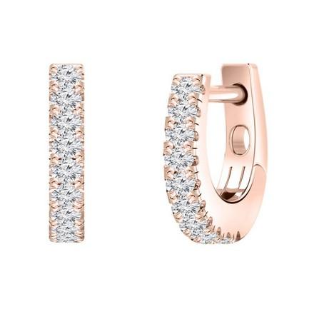 Certified 14k Rose Gold Round-cut Diamond Hoop Earrings 0.15 ct. tw.