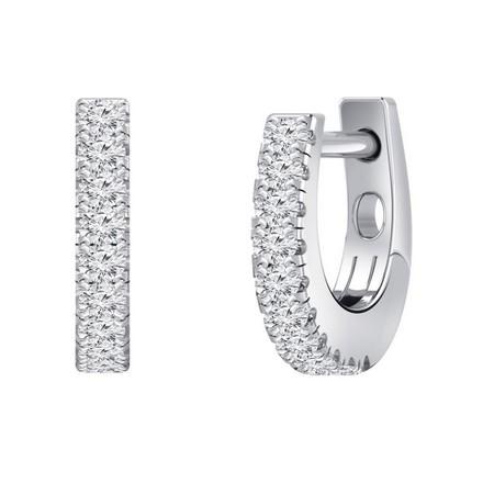Certified 14k White Gold Round-cut Diamond Hoop Earrings 0.15 ct. tw.