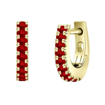 Certified 14k Yellow Gold Round-cut Ruby Gemstone Hoop Earrings 0.18 ct. tw.