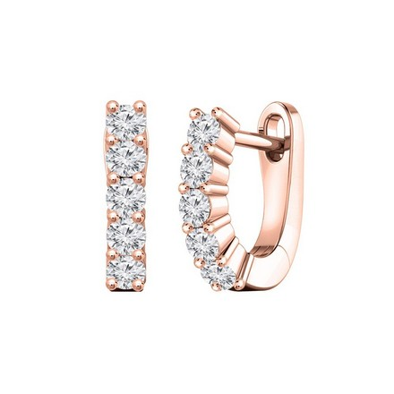Certified 14k Rose Gold Round-cut Diamond Hoop Earrings 0.50 ct. tw.