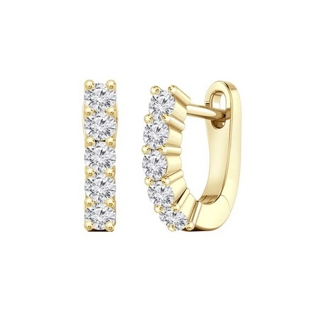 Certified 14k Yellow Gold Round-cut Diamond Hoop Earrings 0.50 ct. tw.