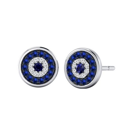 Certified 14k White Gold Round-cut Blue Sapphire and Diamond Stud Earrings 0.30 ct. tw.
