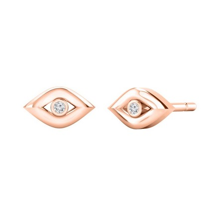 Certified 14k Rose Gold Evil Eye Round-cut Diamond Stud Earrings 0.02 ct. tw.