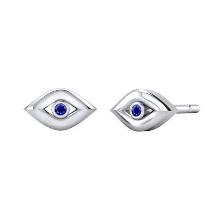 Certified 14k White Gold Evil Eye Round-cut Blue Sapphire Stud Earrings 0.02 ct. tw.