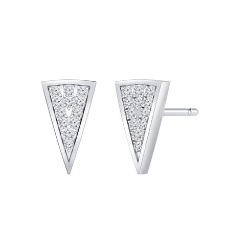 Certified 14k White Gold Triangle Round-cut Diamond Stud Earrings 0.18 ct. tw.
