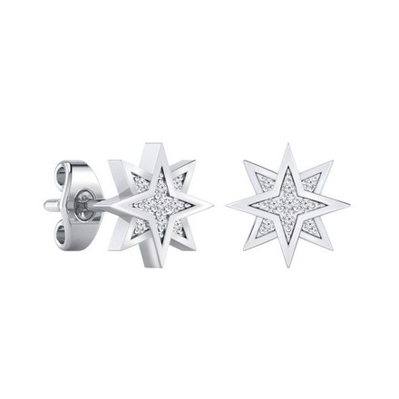 Certified 14k White Gold Starburst shaped Round-cut Diamond Stud Earrings 0.07 ct. tw.
