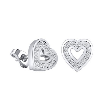 Certified 14k White Gold Heart shaped Round-cut Diamond Stud Earrings 0.12 ct. tw.