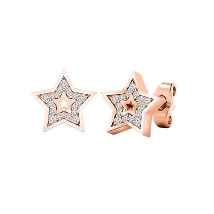 Certified 14k Rose Gold Star shaped Round-cut Diamond Stud Earrings 0.08 ct. tw.