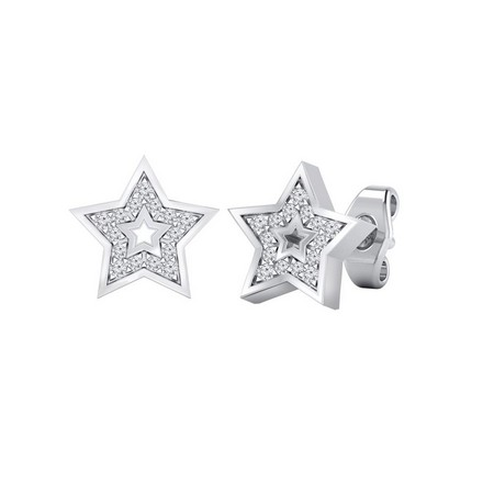 Certified 14k White Gold Star shaped Round-cut Diamond Stud Earrings 0.08 ct. tw.