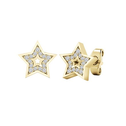 Certified 14k Yellow Gold Star shaped Round-cut Diamond Stud Earrings 0.08 ct. tw.