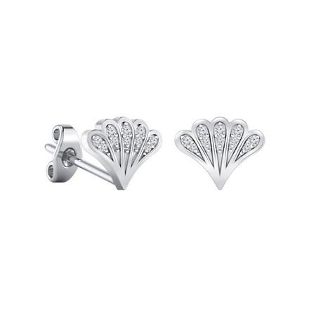 Certified 14k White Gold Fan shaped Round-cut Diamond Stud Earrings 0.08 ct. tw.