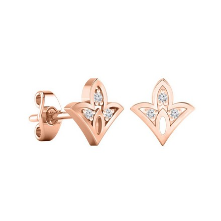 Certified 14k Rose Gold Spade shaped Accent Diamond Stud Earrings 0.04 ct. tw.