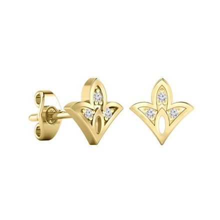 Certified 14k Yellow Gold Spade shaped Accent Diamond Stud Earrings 0.04 ct. tw.