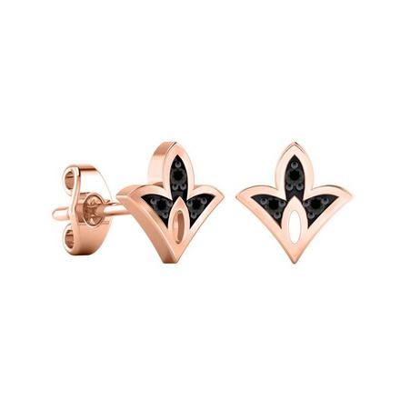 Certified 14k Rose Gold Spade shaped Accent Black Diamond Stud Earrings 0.04 ct. tw.