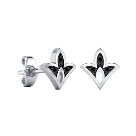 Certified 14k White Gold Spade shaped Accent Black Diamond Stud Earrings 0.04 ct. tw.