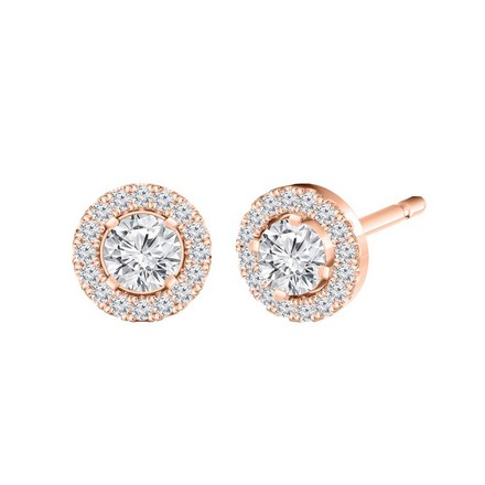 Certified 14k Rose Gold Round-cut Halo Diamond Stud Earrings 0.50 ct. tw.