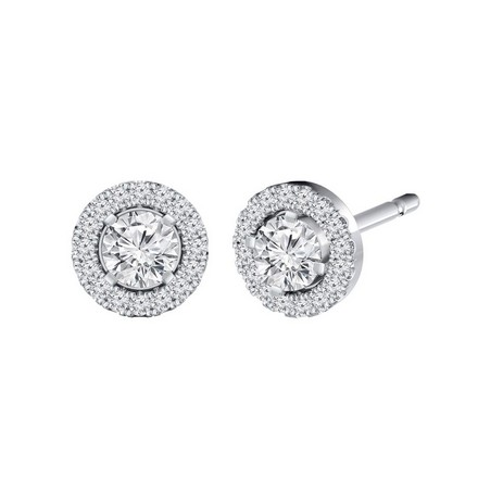 Certified 14k White Gold Round-cut Halo Diamond Stud Earrings 0.50 ct. tw.
