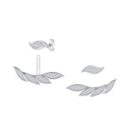 Certified 14k White Gold Double Sided Feather Round-cut Diamond Stud Earrings 0.60 ct. tw.