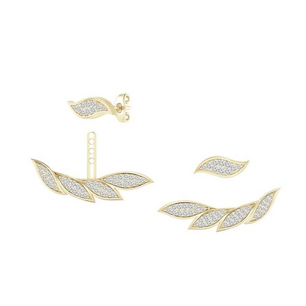 Certified 14k Yellow Gold Double Sided Feather Round-cut Diamond Stud Earrings 0.60 ct. tw.