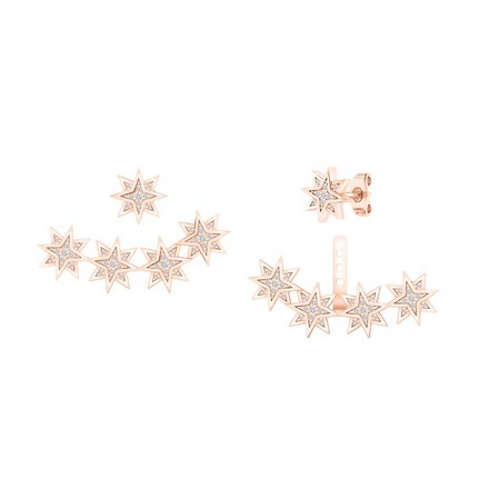 Certified 14k Rose Gold Double Sided Star Round-cut Diamond Stud Earrings 0.20 ct. tw.