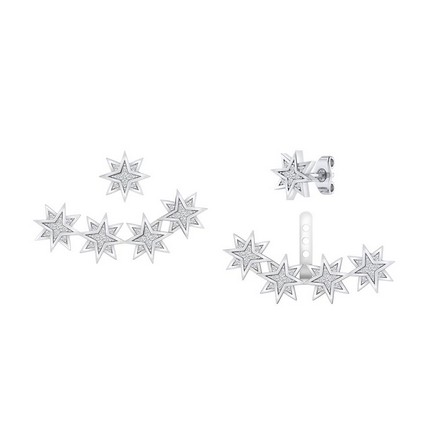 Certified 14k White Gold Double Sided Star Round-cut Diamond Stud Earrings 0.20 ct. tw.
