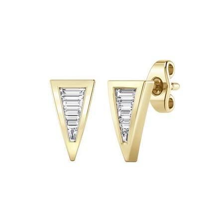 Certified 14k Yellow Gold Triangle Shaped Baguette-cut Diamond Earrings 0.25 ct. tw.