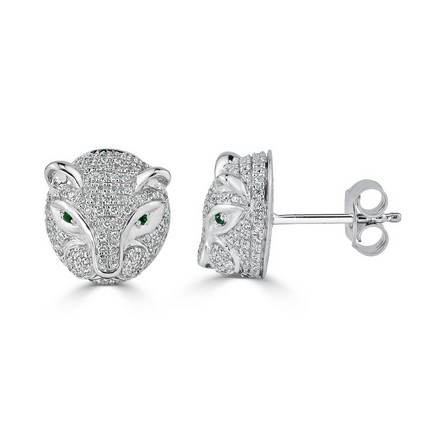 Certified 14k White Gold Round-cut Emerald and Diamond Fashion Earrings 0.48 cttw