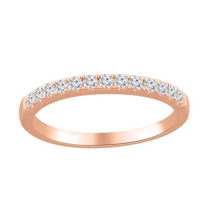 Certified 14k Rose Gold Classic Diamond Wedding Ring 0.26 cttw