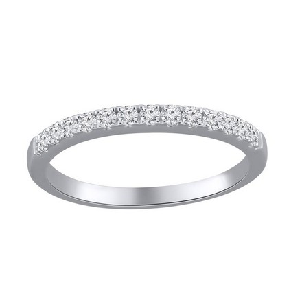 Certified 14k White Gold Classic Diamond Wedding Ring 0.26 cttw