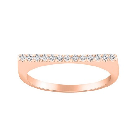 Certified 14k Rose Gold Diamond Wedding Ring 0.13 cttw