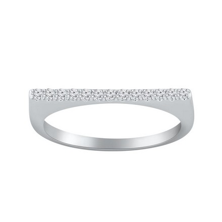 Certified 14k White Gold Diamond Wedding Ring 0.13 cttw