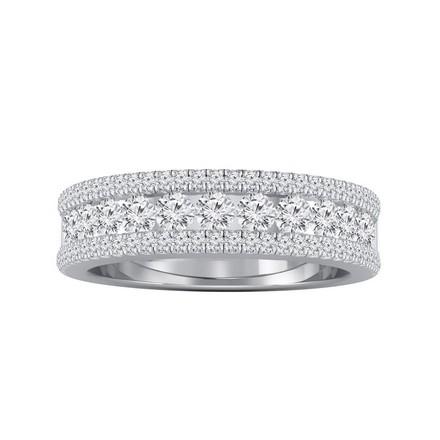 Certified 14k White Gold Diamond Wedding Ring 0.81 cttw