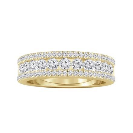 Certified 14k Yellow Gold Diamond Wedding Ring 0.81 cttw