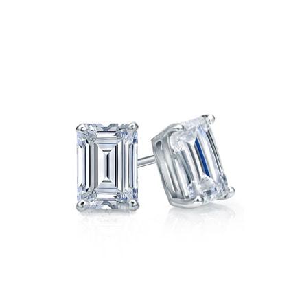 Certified 14k White Gold 4-Prong Basket Emerald Cut Diamond Stud Earrings 0.50 ct. tw. (I-J, I1)