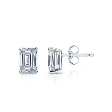 Lab Grown Diamond Studs Earrings Emerald 1.00 ct. tw. (D-E, VS1-VS2) in 14k White Gold 4-Prong Basket
