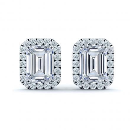 GIA Certified 1.50ct TDW Emerald Diamond Stud Earrings in 18k White Gold Halo Setting (D, VVS1)