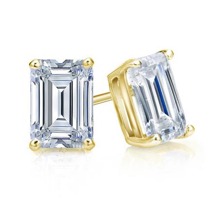 Certified 14k Yellow Gold 4-Prong Basket Emerald Cut Diamond Stud Earrings 1.50 ct. tw. (I-J, I1-I2)