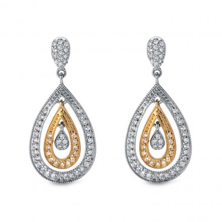 Certified 14k Two Tone Round Diamond Dangle Earrings (1/2 cttw)