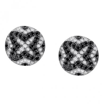 Certified 14k White Gold Black and White Diamond Earrings (1/3 cttw)