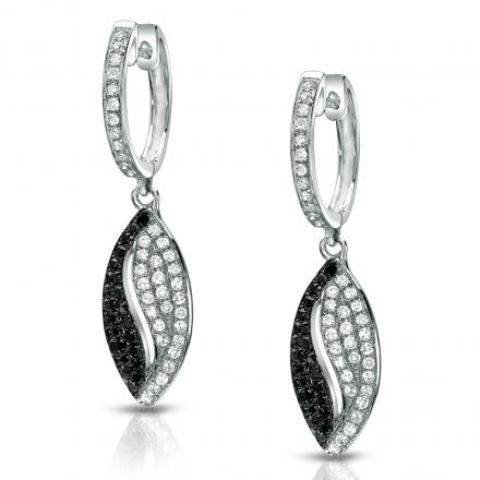Certified 14k White Gold Black and White Diamond Dangle Earrings (1/2 cttw)